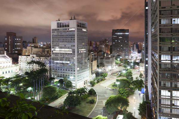 Sao Paulo város Brazília éjszaka kilátás völgy Stock fotó © cifotart