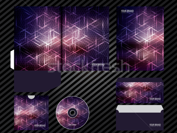 Corporate identity template design purple color business set stationery. Stock photo © cifotart