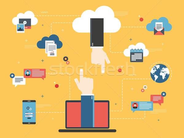 Cloud computing, share and transfer data.  Stock photo © cifotart