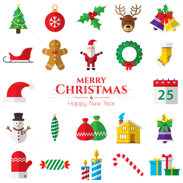 Zestaw christmas ikona biały ikona dzwon Zdjęcia stock © cifotart