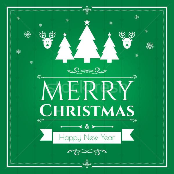 Zestaw christmas ikona zielone Internetu banner Zdjęcia stock © cifotart