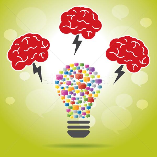 Идея Creative мозг Молния лампы Сток-фото © cifotart