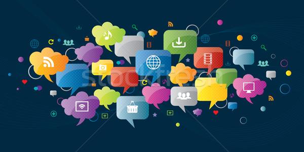 Burbuja de pensamiento comunicación medios de comunicación social Internet negocios ordenador Foto stock © cifotart