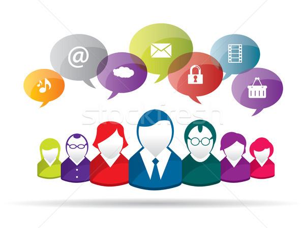 Affaires communication discussion personnes résumé foule Photo stock © cifotart