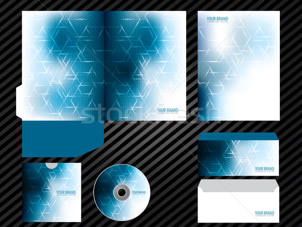 Corporate identity template design blue color business set stationery. Stock photo © cifotart