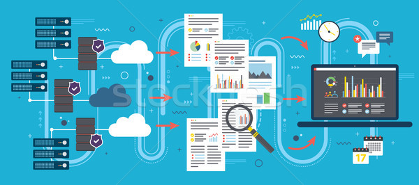 Cloud Computing, big data analysis and data mining. Stock photo © cifotart