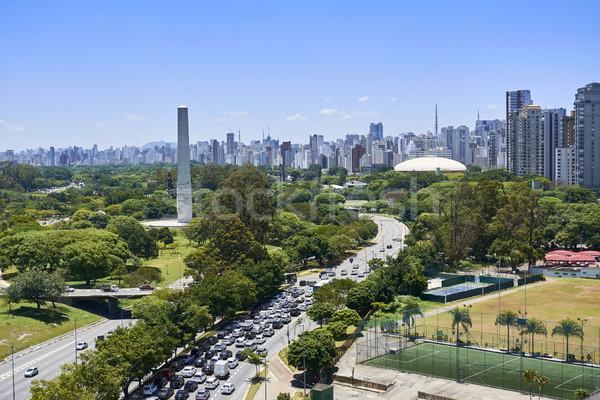 Sao Paulo város Brazília park kilátás épület Stock fotó © cifotart