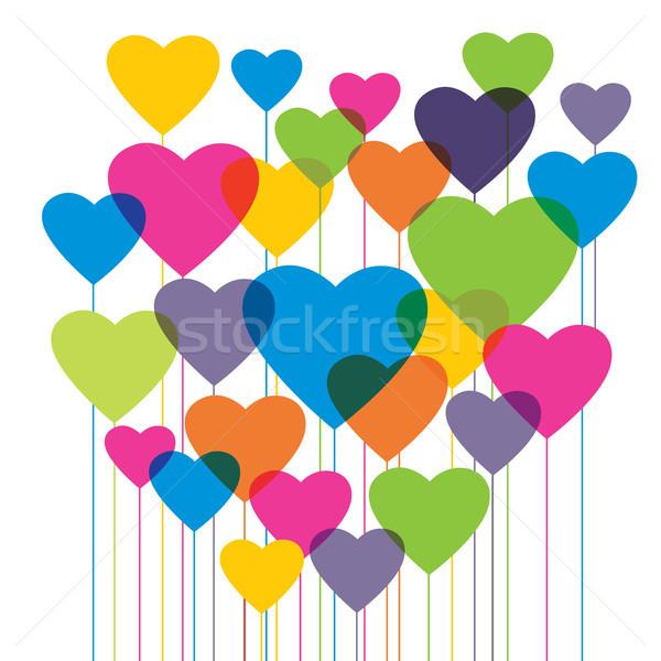 Kształt serca kolorowy balony walentynki miłości romans Zdjęcia stock © cifotart