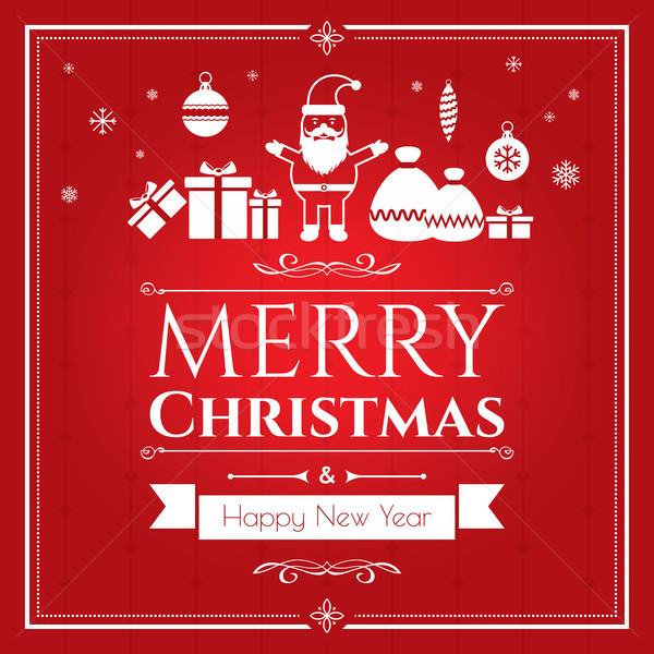 Zestaw christmas ikona czerwony Internetu banner Zdjęcia stock © cifotart