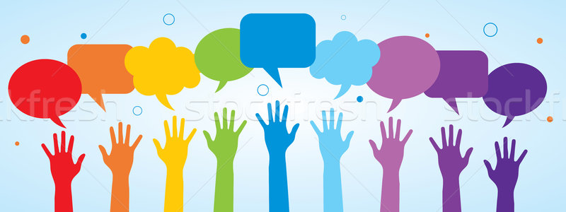 Hands and speech bubble. Stock photo © cifotart