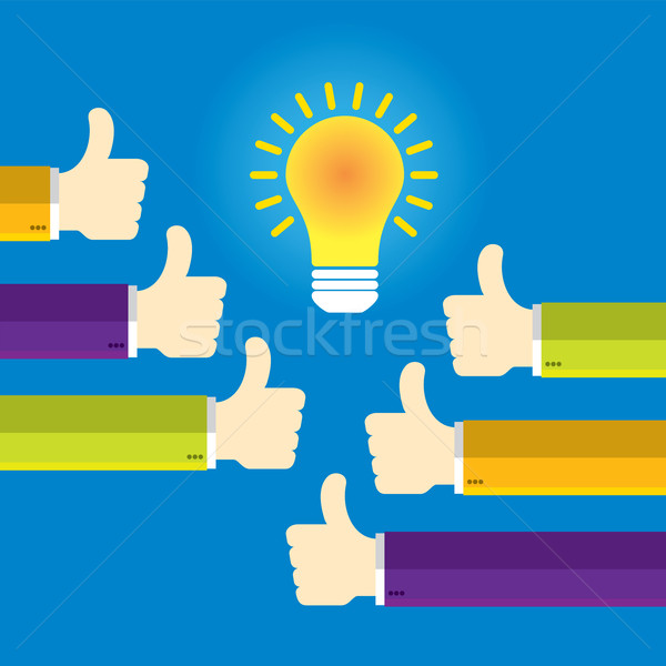 Hands in thumbs up sign and lamp light. Stock photo © cifotart