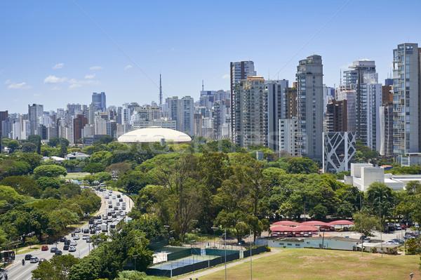 Sao Paulo város Brazília park kilátás tornaterem Stock fotó © cifotart