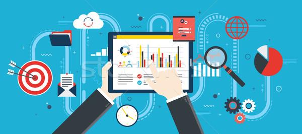 Ontwerp financiële investering analytics groei verslag Stockfoto © cifotart