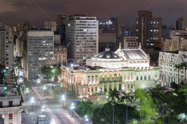 Sao Paulo város Brazília éjszaka kilátás helyhatósági Stock fotó © cifotart