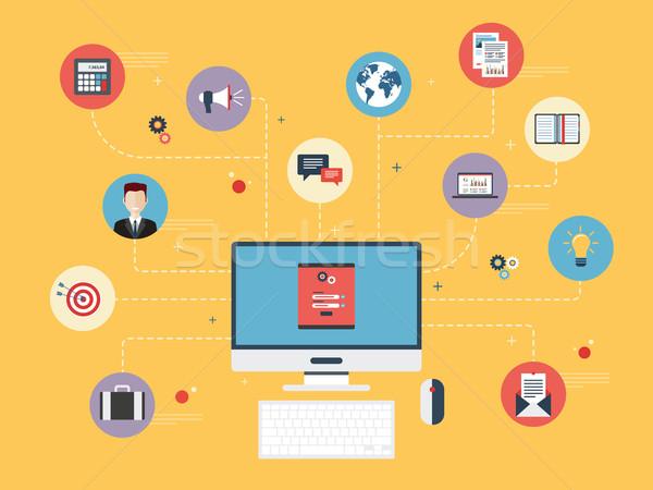 Komputera działalności login hasło ekranu ikona Zdjęcia stock © cifotart
