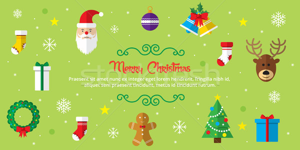 Set of christmas icons on green background Stock photo © cifotart