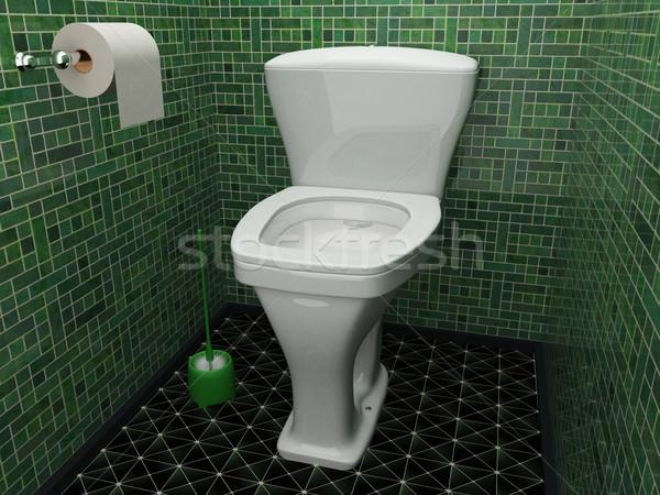 Wc belső kicsi toalett zöld csempék Stock fotó © Ciklamen