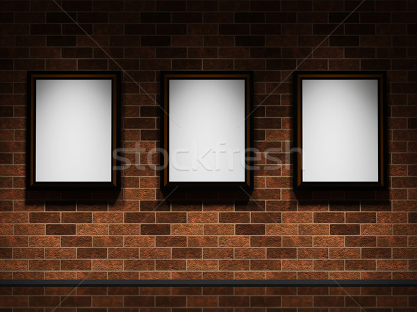 Pictures on a brick wall Stock photo © Ciklamen