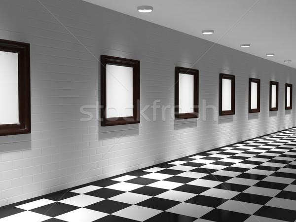 Galeri resimler tuğla duvar dizayn çerçeve boyama Stok fotoğraf © Ciklamen