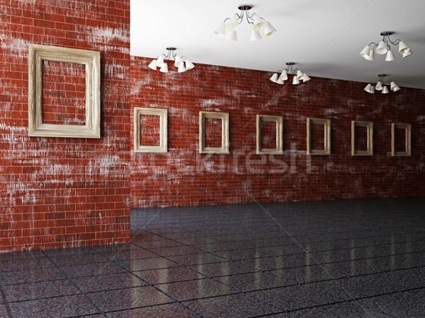 Grand galerie vide bois cadres bois Photo stock © Ciklamen