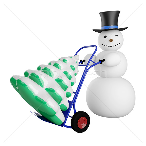 Snowman with Christmas tree on a pushcart Stock photo © Ciklamen