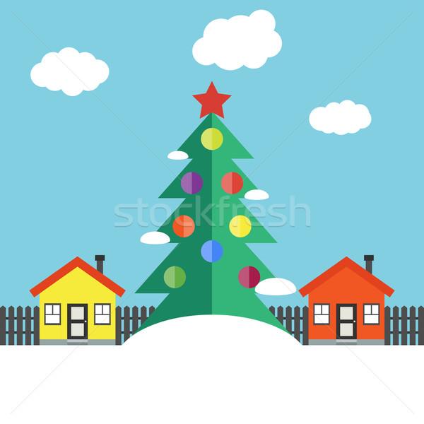Noel kış manzara ağaç Bina ev Stok fotoğraf © Ciklamen