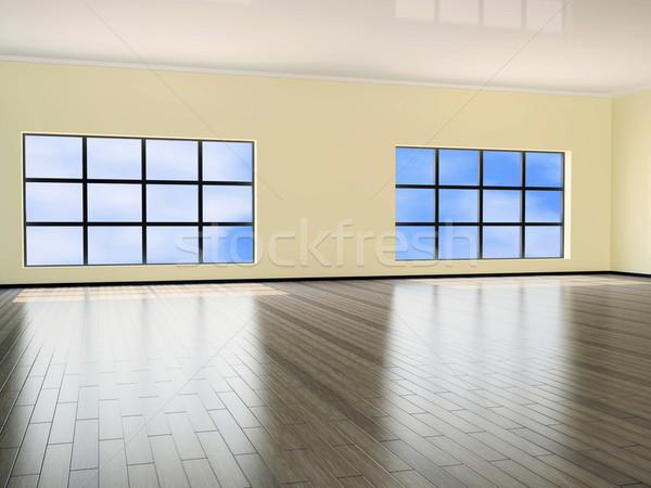 Büyük salon iç pencere ofis ahşap Stok fotoğraf © Ciklamen
