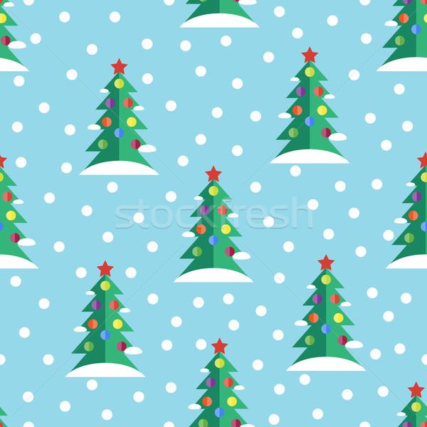 Végtelenített karácsonyi minta vektor minta karácsonyfa textúra Stock fotó © Ciklamen
