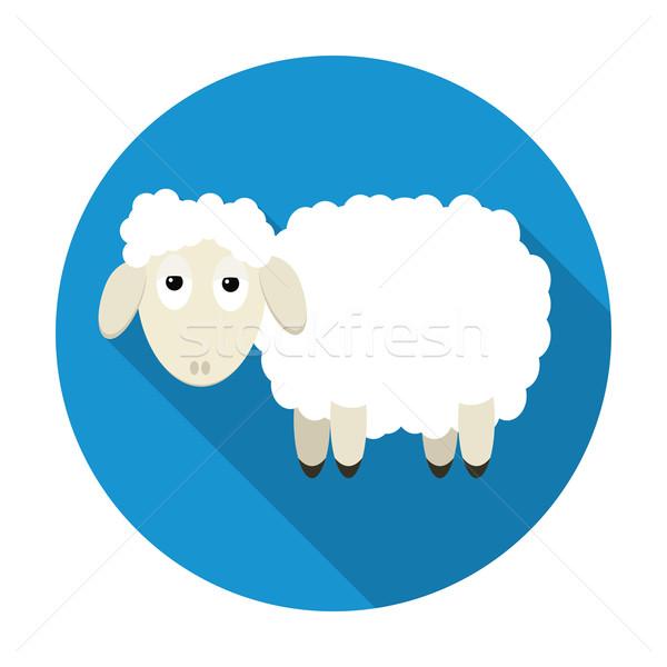 Sheep icon with long shadow Stock photo © Ciklamen