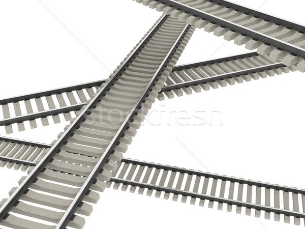 Vasútvonal négy fehér üzlet út fém Stock fotó © Ciklamen