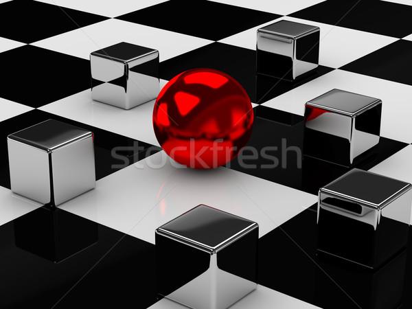 Fém kockák labda csempézett felület internet Stock fotó © Ciklamen