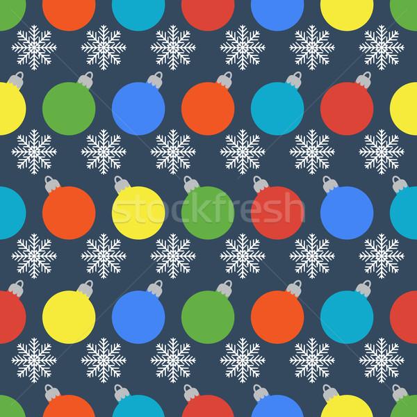 Minta színes golyók hópelyhek végtelenített vektor Stock fotó © Ciklamen