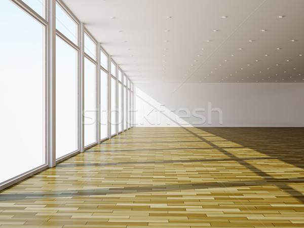 Előcsarnok nagy ablakok lámpák épület építkezés Stock fotó © Ciklamen