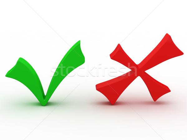 Onay kutusunu yeşil kırmızı beyaz iş çapraz Stok fotoğraf © Ciklamen