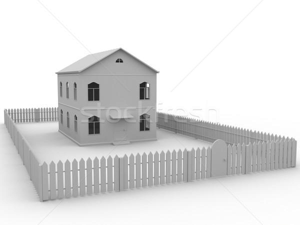 Büyük gri ev arkasında çit bilgisayar Stok fotoğraf © Ciklamen