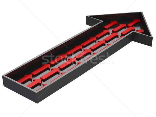 Kicsi piros nyilak nagy fekete nyíl Stock fotó © Ciklamen