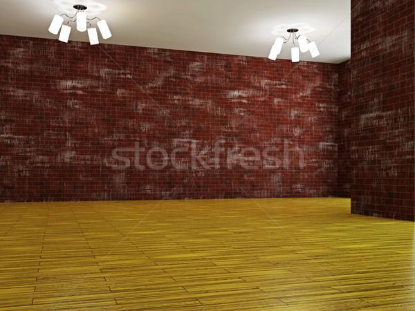 Büyük salon tuğla duvar ofis ahşap inşaat Stok fotoğraf © Ciklamen