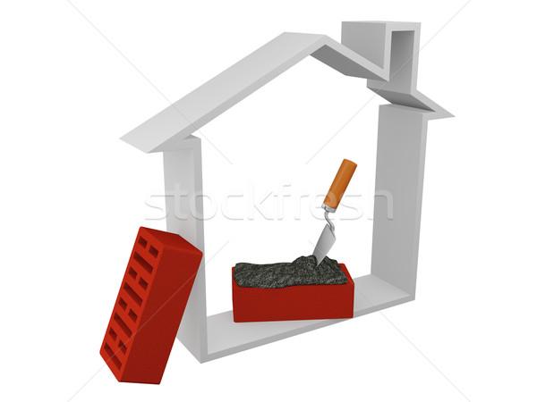 Kezdet épület ház piros tégla üzlet Stock fotó © Ciklamen