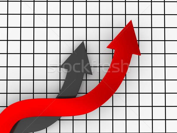 Vezető piros szürke nyilak növekedés számítógép Stock fotó © Ciklamen