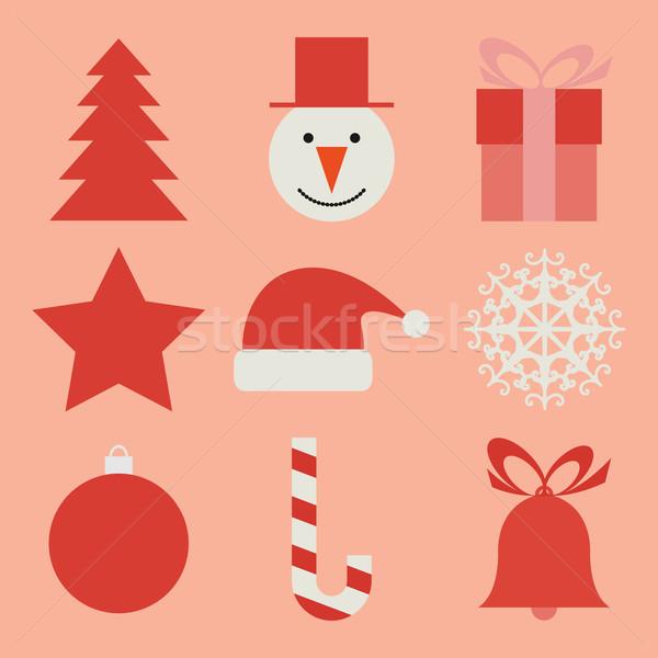 Noel simgeler mutlu dizayn arka plan imzalamak Stok fotoğraf © Ciklamen