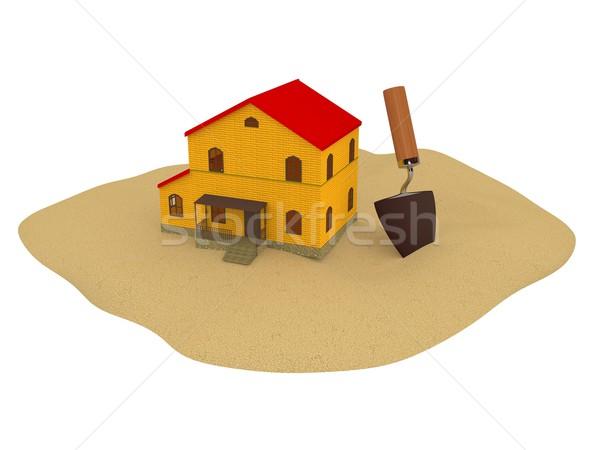 Ház kicsi homok épület otthon ajtó Stock fotó © Ciklamen