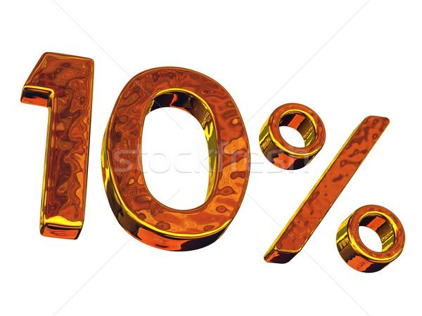 десять золото процент символ белый бизнеса Сток-фото © Ciklamen