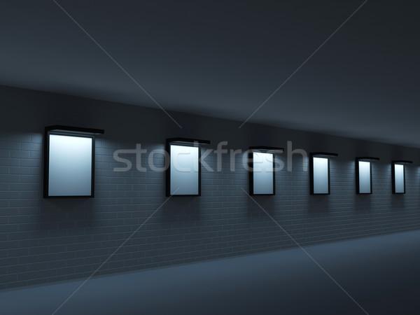 Foto d'archivio: Buio · galleria · dipinti · muro · di · mattoni · design · frame
