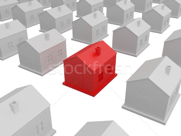 Kicsi piros ház szürke házak üzlet Stock fotó © Ciklamen