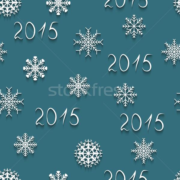 Kar taneleri vektör beyaz 2015 parti Stok fotoğraf © Ciklamen
