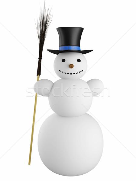 Kardan adam süpürge şapka büyük beyaz göz Stok fotoğraf © Ciklamen