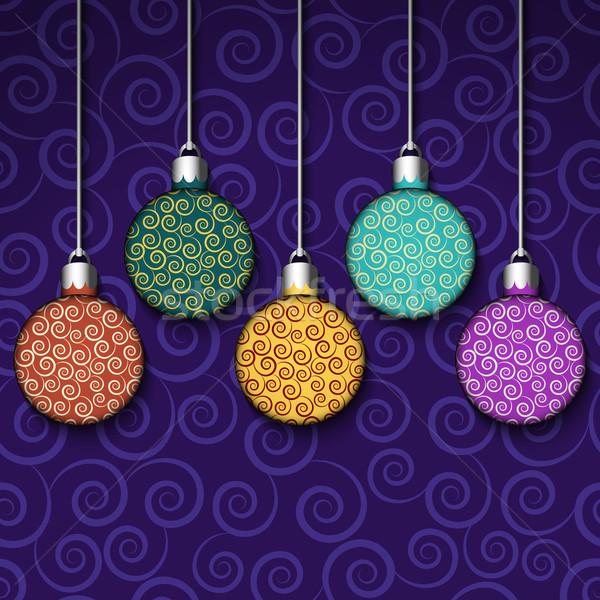Színes golyók vektor karácsony terv tél Stock fotó © Ciklamen