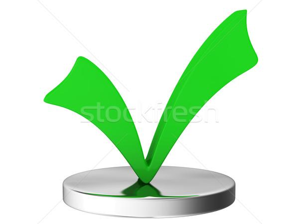 Onay kutusunu büyük yeşil beyaz imzalamak başarı Stok fotoğraf © Ciklamen