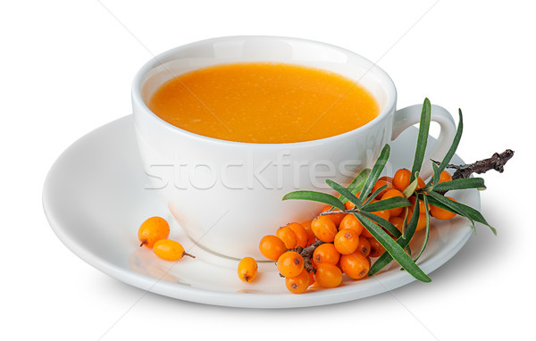 Juice from sea-buckthorn in a cup with berries Stock photo © Cipariss