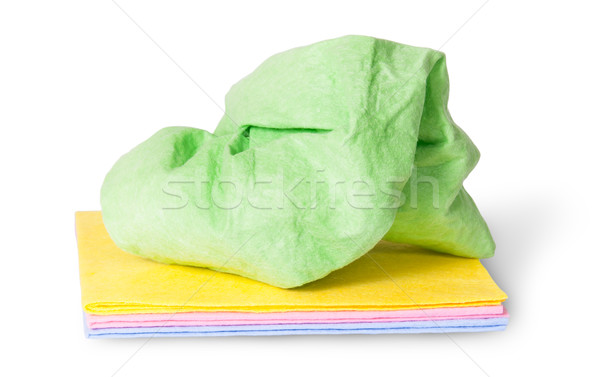 Multicolored stack cleaning cloths crumpled on top Stock photo © Cipariss